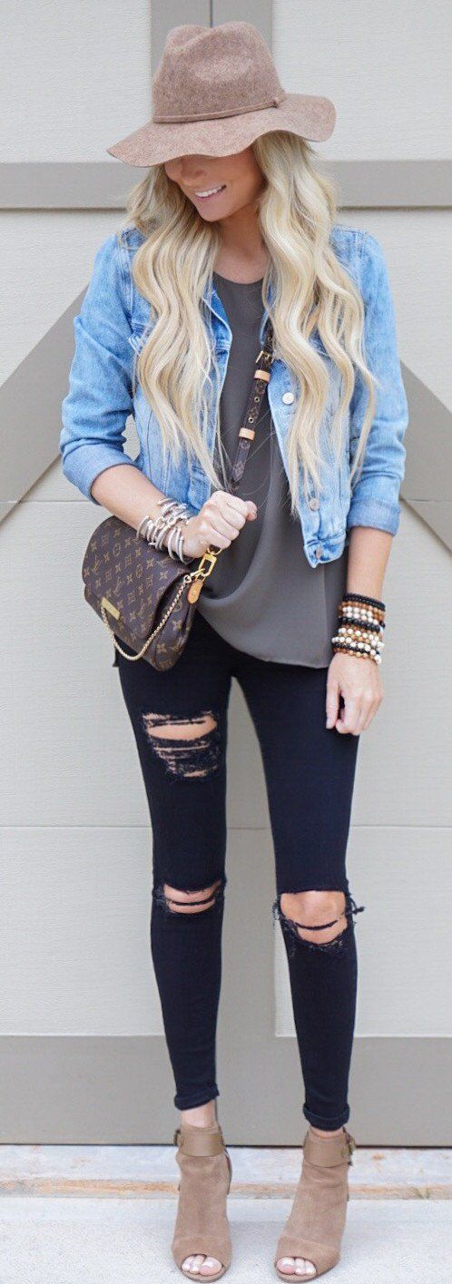 #spring #outfits  Denim Jacket & Black Ripped Skinny Jeans & Brown Open Toe Booties