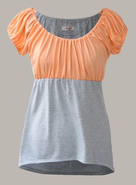 Pontius Perle® Kurzarmblusen -  Top Carmenausschnitt Puffärmeln hell orange/grau - ein Designerstück von Pontius-Perle bei DaWanda