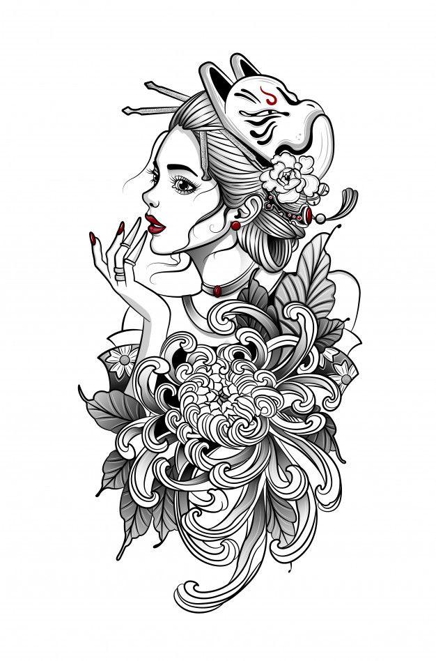 Freepik Graphic Resources For Everyone In 2020 Geisha Tattoo Japanese Geisha Geisha Tattoo Design