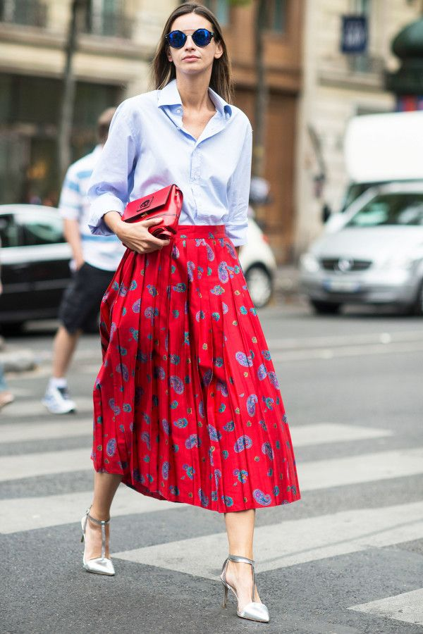 classic shirt with a printed pleated midi skirt and metallic pumps