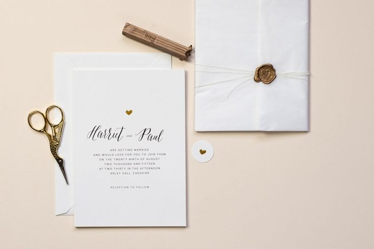 Emma Jo Little Gold Heart Wedding Invitations