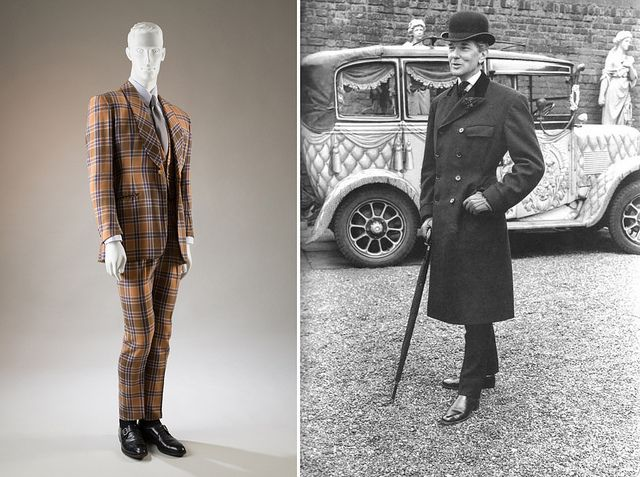 Suit worn by Bunny Roger | England, 1973 | After the Second World War, Bunny Roger (1911-1997) developed a personal sartorial style that reflected his nostalgia for Edwardian fashions | Britain's Teddy Boy rockers would eventually adopt elements of this neo-Edwardian style -perhaps little realizing that its creator was a socialite who spent his life flying in the face of conventional sexual morality | A Queer History of Fashion (September 2013-January 2014) | The Museum at FIT, New York