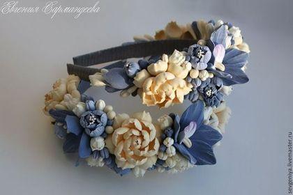 Купить Ободок из полимерной глины - голубой, ободок для волос, ободок с цветами, ободок, ободок для девушки