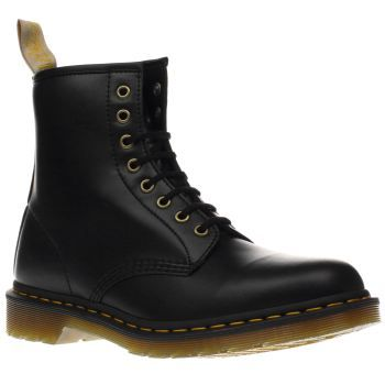 Dr Martens Black Vegan 1460 8eye Mens Boots The Dr. Martens classic goes vegan! A manmade upper sat on an AirWair sole creates the vegan friendly 1460 eight eye lace up ankle boot. Finished with a manmade insole, yellow stitch detail and pull o http://www.MightGet.com/january-2017-13/dr-martens-black-vegan-1460-8eye-mens-boots.asp