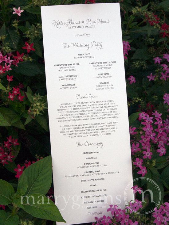 Elegant Wedding Programs - Single-Sided, Flat Programs - Affordable Wedding Programs - Simple Wedding Programs (Set of 50). $112.50, via Etsy.