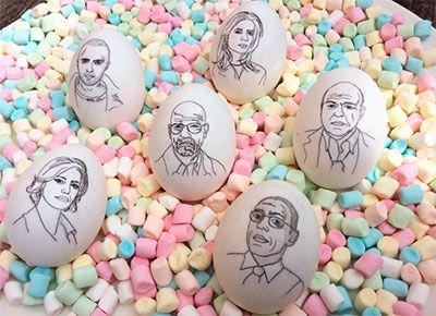 Bad Eggs! Characters from the awesome TV series Breaking Bad; Walter, Jesse, Skyler, Marie, Hank & Gustavo. #easter #candy #color #marshmallows #portrait #christinaheitmann #illustrator #illustration #illustratör #drawing #sketch #Pinkman #White #fun #funny #humour #brba #walterwhite #heisenberg #jessepinkman #skylerwhite #marieschrader #hankschrader #gusfring #polloshermanos #saymyname #fanart #tvseries