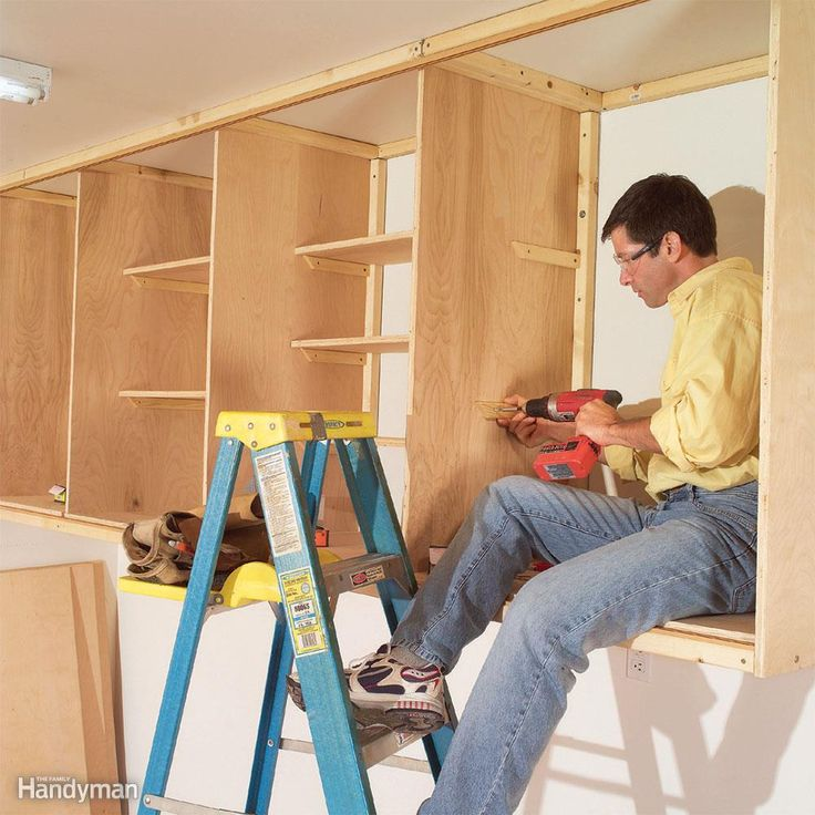 You don't have to be a cabinetmaker to build big, sturdy cabinets— especially if you build them in place. All you have to do is screw 2x2s to the wall and ceiling and then screw plywood panels to the 2x2s to form the top, bottom and sides of cabinet boxes. This approach is simple, fast and economical; the materials cost about $250.