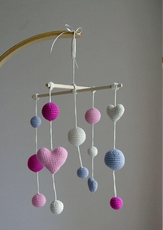 Crib Mobile Crochet Pink Baby Girl mobile by YarnBallStories