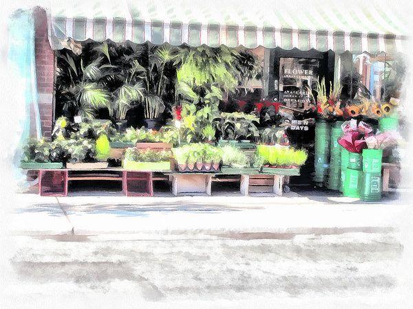 Flower Shop Treasures Art Print by Leslie Montgomery.
