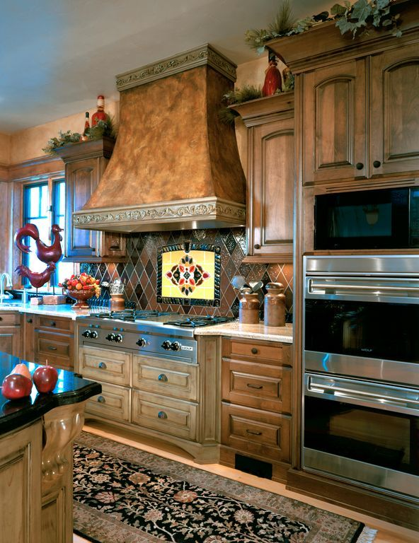 """Country Kitchen with 30"""" Built-In L Series Double Oven- Framed Door, Simple granite counters, Tile Mural Backsplash, L-shaped"""