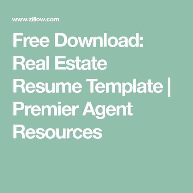 Free Download: Real Estate Resume Template | Premier Agent Resources