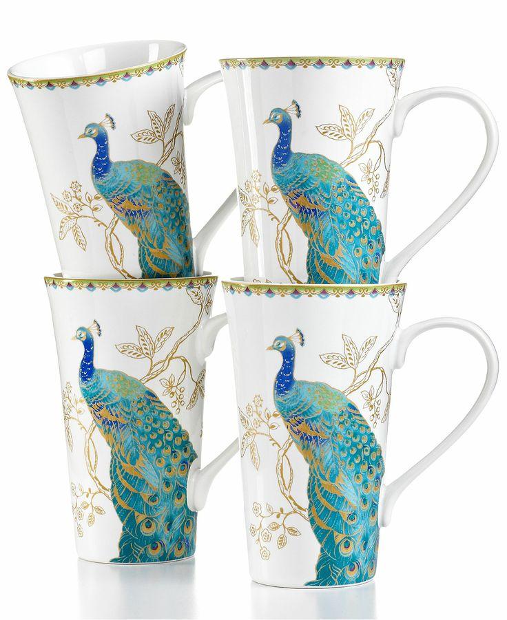 222 Fifth Dinnerware, Set of 4 Peacock Garden Latte Mugs - Casual Dinnerware - Dining & Entertaining - Macys