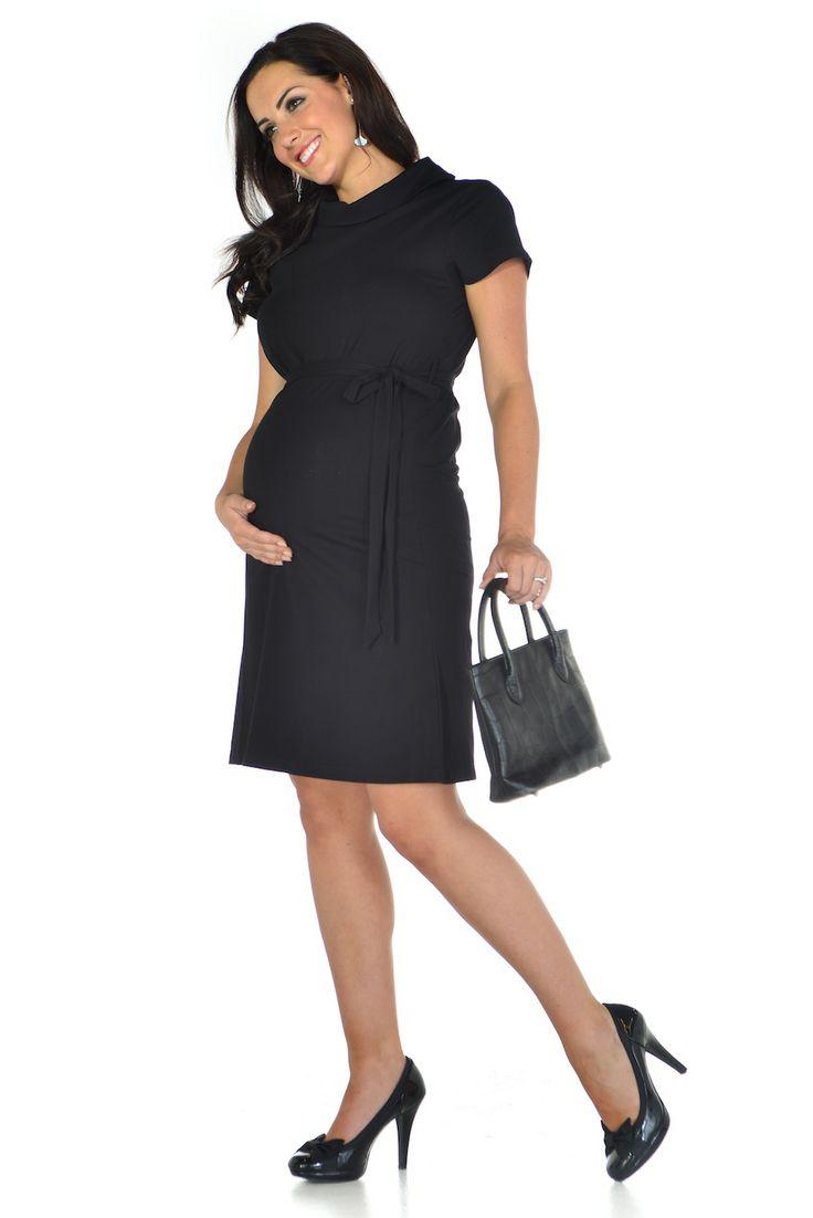 Black Polo Neck Maternity Office Dress