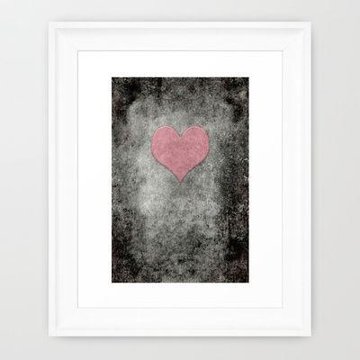 Valentines Grunge Love in Opal Pink Framed Art Print