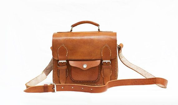 Retro Camera Bag Brown Cow Leather Square by CoruscateLeatherBag, $170.00