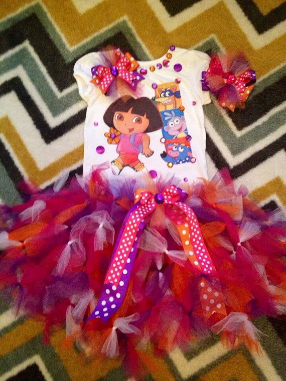 Dora the Explorer birthday party tutu set in your size  on Etsy, $59.99