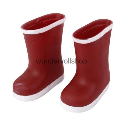 18-Zoll-Puppen-Kleidung-Rot-Regen-Stiefel-Schuhe-fuer-American-Girl-Puppe
