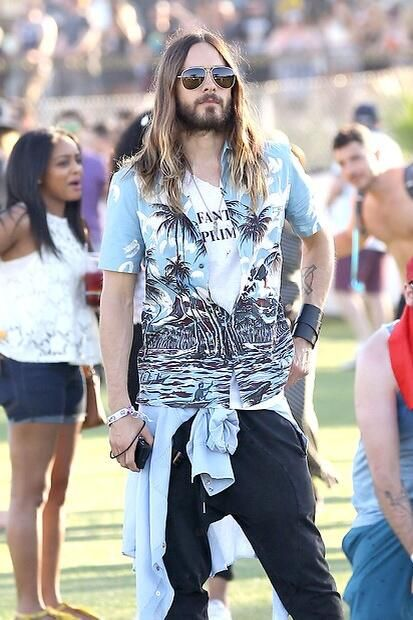 I know you love hawaii shirt... so MAYBE this one, with aviators? :D (Jared Leto Coachella 2014)