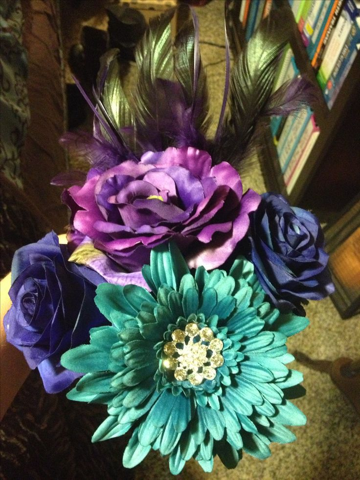 Wedding Bouquet Dark Blue Roses Light Blue Aster And Purple Floral Mix Bridesmaid Bouquet
