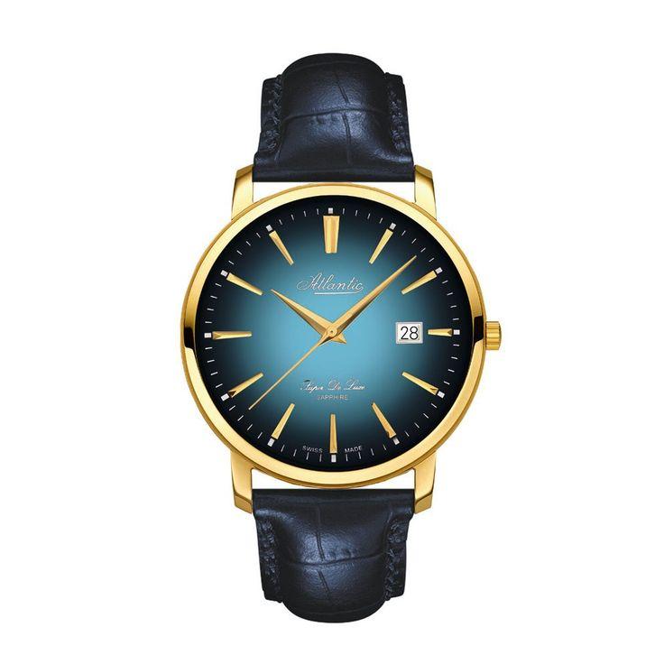 Elegacnki zegarek męski w stylu retro Atlantic Super De Luxe 64351.45.51. Wzorcem dla tego zegarka był model z lat 60 XX wieku. Oryginalny logotyp marki w stylu retro używany w tamtych latach, dodaje wyjątkowego charakteru. Ten model charakteryzuje się stalową kopertą o średnicy 42 mm oraz skórzanym paskiem. Stal szlachetna  symbolu 316L została pokryta powłoką złota.  #zegarek #zegarki #timetrend #atlantic