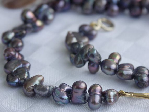 Black pearl necklace double pearls  major by Perlenfischzuege, €165.00