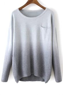 Pull sweat gris Round Neck Ombre Color Sweater