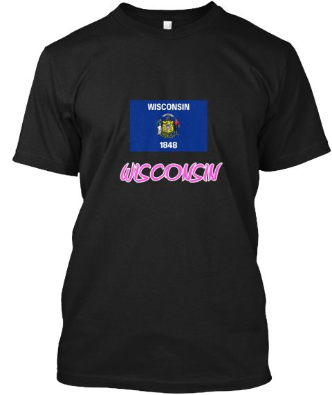 Wisconsin Flag Artistic Pink Design Black T-Shirt Front - This is the perfect gift for someone who loves Wisconsin. Thank you for visiting my page (Related terms: I Heart Wisconsin,Wisconsin,Wisconsin,Wisconsin Travel,I Love My Country,Wisconsin Flag, Wisconsin M #Wisconsin, #Wisconsinshirts...)