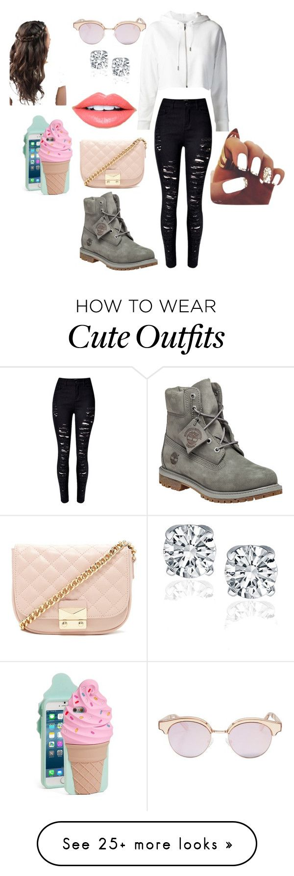 """Cute Teen Outfits"" by frouse on Polyvore featuring Forever 21, Le Specs, Kate Spade, Fiebiger and Timberland"