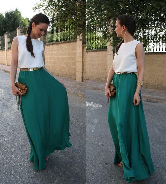 street style falda larga boda