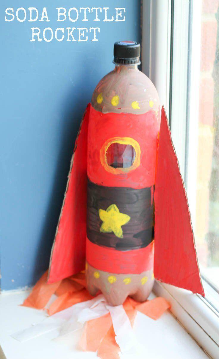 Soda bottle rocket. Fun junk modelling upcycled craft for kids