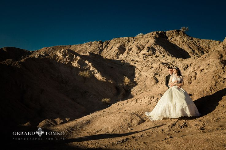 Gorgeous Bride and Groom portrait. At the base of the Andes mountains, San Juan. Argentina destination wedding. Day after session. Wedding Photographer | Gerard Tomko.