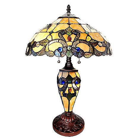 """470-439 - Tiffany-Style 20"""" Magna Carta Stained Glass Table Lamp"""