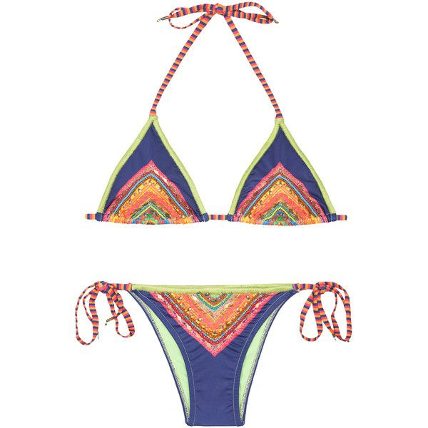 Farm Women's swimwear Embroidered Multicoloured Bikini With Bead... (5,555 THB) ❤ liked on Polyvore featuring swimwear, bikinis, olivegreen, triangle bikini, padded triangle bikini, side tie bikini, padded bikini top and triangle swimwear