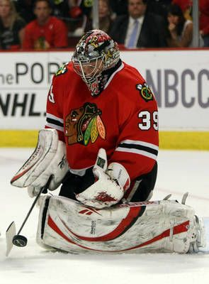 Nikolai Khabibulin, #39, of the Chicago Blackhawks