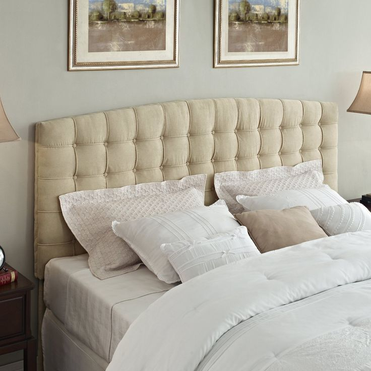 king size button tufted padded headboard upholstered in beige microfiber - Upholstered Headboard King