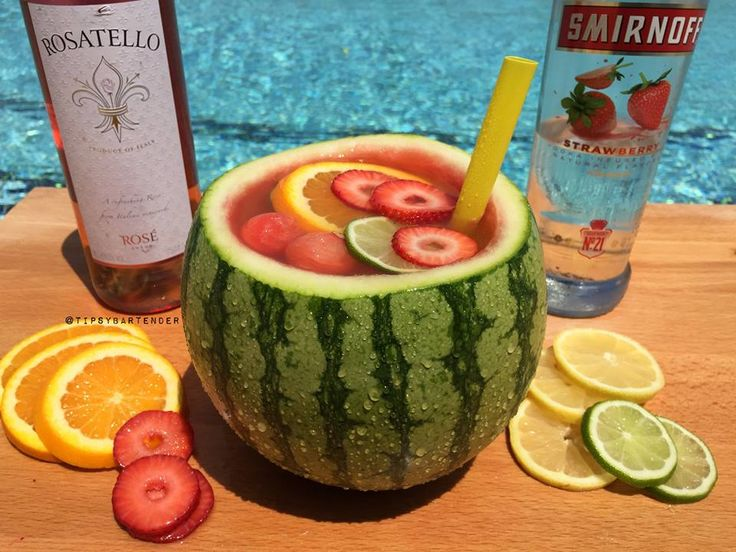 Mini Vodka Watermelon Bowl - For more delicious recipes and drinks, visit us here: www.tipsybartender.com
