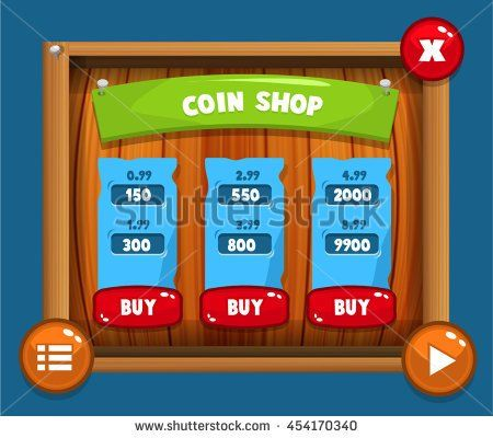 Match 3 Game Assets GUI User Interface Coin Shop  for Reskin Apps - stock vector