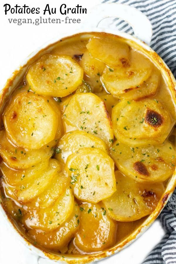 Vegan Potatoes Au Gratin In 2020 Au Gratin Recipes Vegan Potato Au Gratin Potato Recipes
