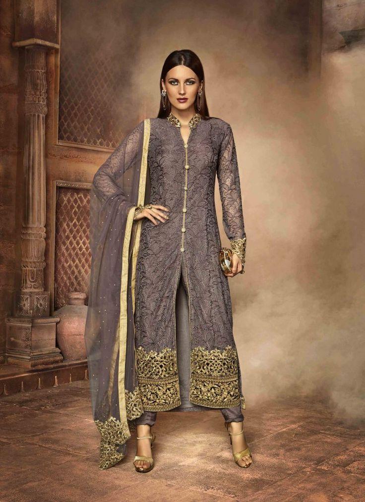 Fancy Designer Anarkali Collection Grey Colored Salwar Suit