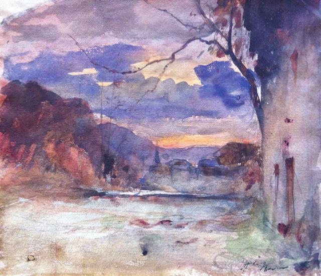 François-Auguste Ravier (1814-1895), Paysage de Campagne et Maison.