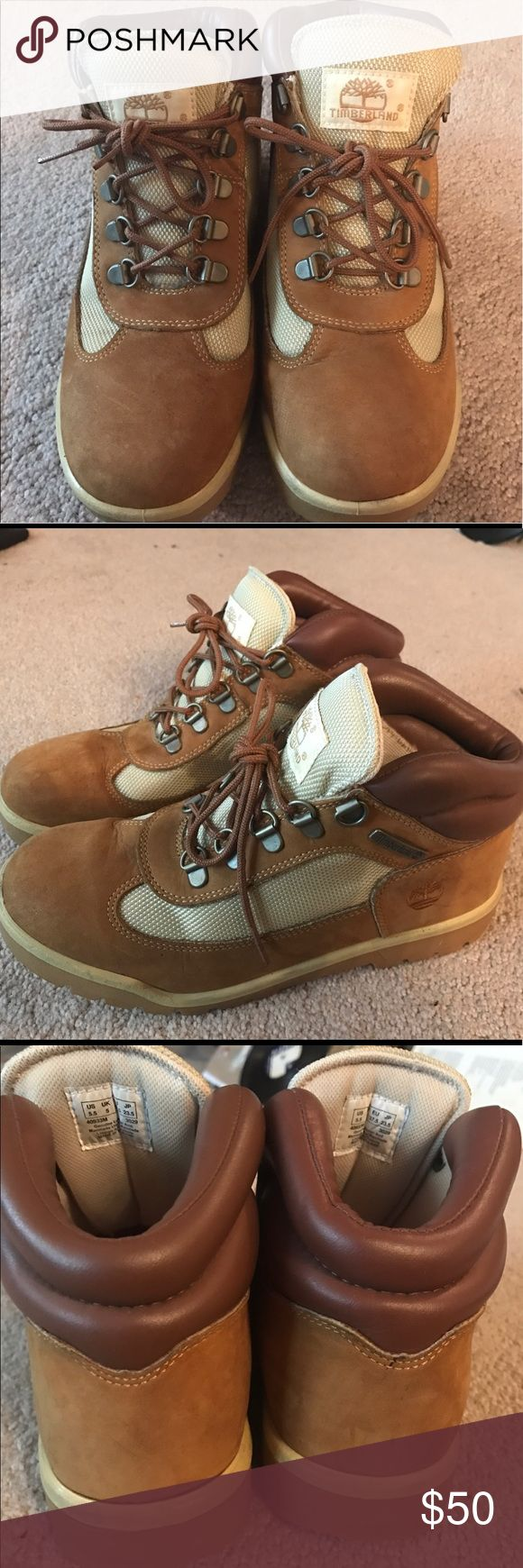 Timberland tan and beige work boots Timberland boots with genuine leather and man made upper, size 5.5 men's or 7.5 women's. Great condition and perfect for construction, or for fashion as well. Timberland Shoes Winter & Rain Boots