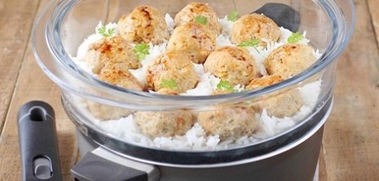 Boulettes de poulet vapeur aux abricots secs