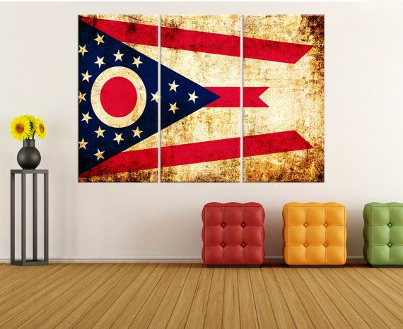 ohio state flag wall art canvas Print, stretched flag canvas print, extra large canvas art, ohio flag wall art, large canvas art flag 8s79