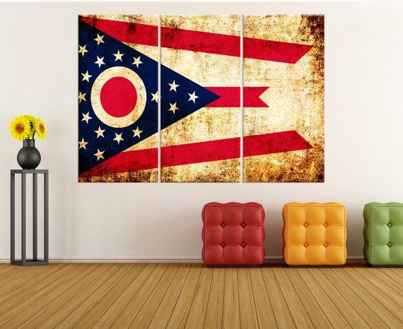 ohio state flag wall art canvas Print, stretched flag canvas print, extra large canvas art, ohio flag wall art, large canvas art flag 8s79