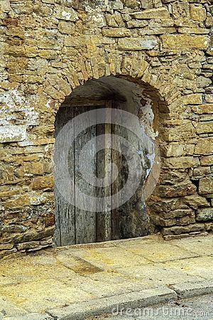 Old wooden door in small town