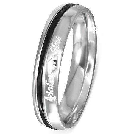 Stainless steel dames ring met tekst  maat 16