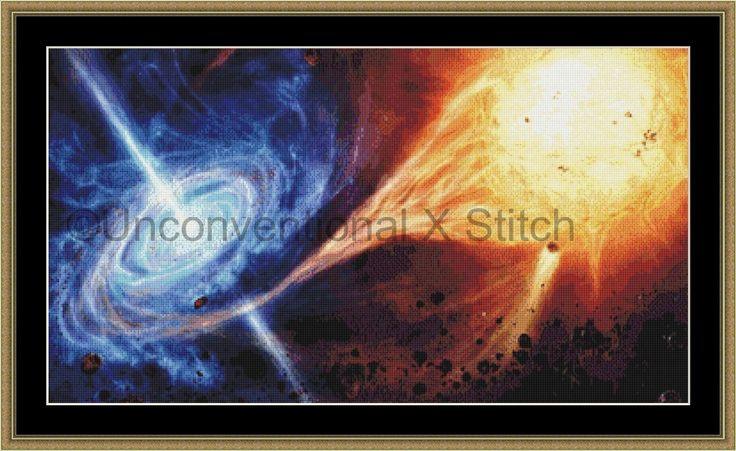 Irresistible Oblivion solar system cross stitch pattern - blackhole low mass x-ray binary system - MINI by UnconventionalX on Etsy