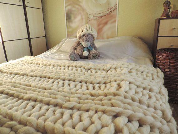 SUPER Chunky knit blanket, Blanket Throw, Blanket, Australian merino, wool blanket, chunky blanket, super chunky.