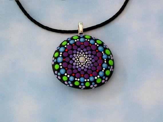 Hand painted boho style necklace Mandala stone necklace
