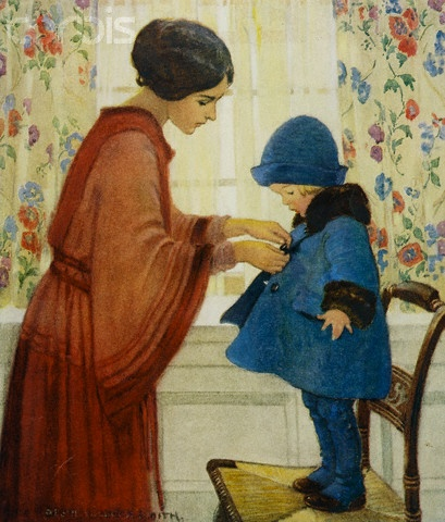 Illustration of a Mother Dressing Her Daughter by by Jessie Willcox Smith (American, 1863-1935)